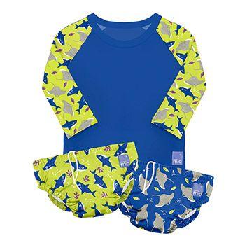 Lot de 2 maillots de bain + 1 tee-shirt anti-UV Bambino Mio - Néon