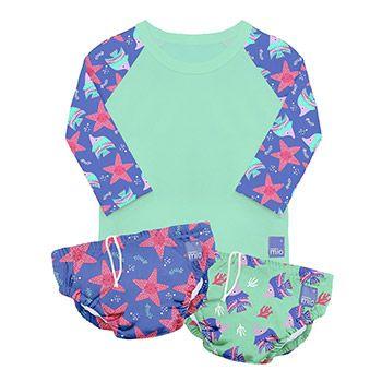 Lot de 2 maillots de bain + 1 tee-shirt anti-UV Bambino Mio - Violet