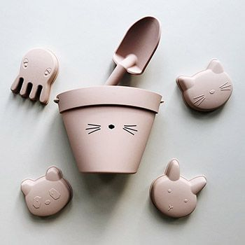 Seau & accessoires en silicone Liewood - Chat rose