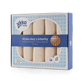 Lot de 5 langes en coton bio naturel XKKO - 80x80cm