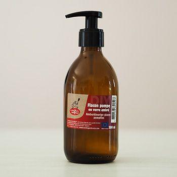 Flacon pompe en verre ambré 300ml La droguerie écologique