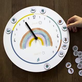 Horloge 24 heures 20 aimants Odette & Jeannette - Arc-en-ciel