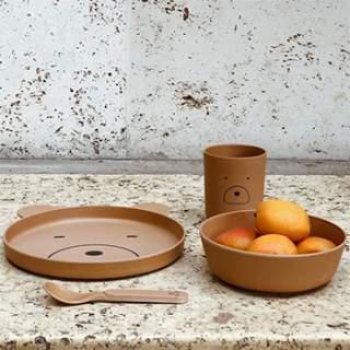 Coffret vaisselle en bambou Liewood - Mr bear mustard