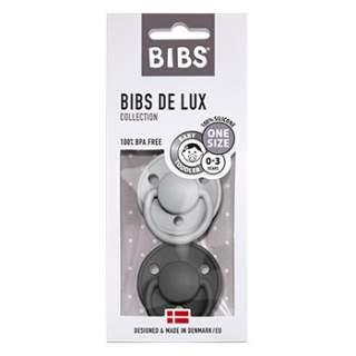 Pack de 2 tétines de Lux en silicone Bibs -Gris/noir