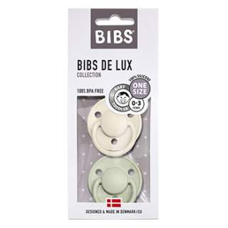 Pack de 2 tétines de Lux en silicone Bibs -Ivoire/sauge