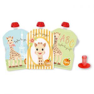 Lot de 3 gourdes Réutilisables pour compotes et purées Squiz Sophie la girafe + 1 embout