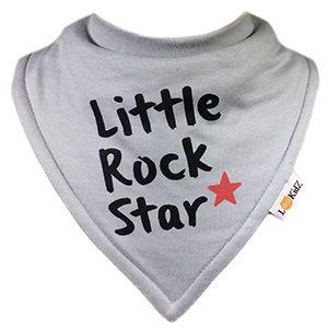 Bavoir bandana Lookidz Little Rock Star gris