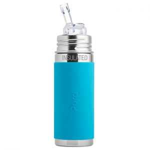 Gourde à paille Inox Isotherme 260ml Pura Turquoise