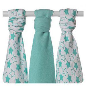 Lot de 3 mini-langes en mousseline de bambou XKKO - Little Stars Turquoise