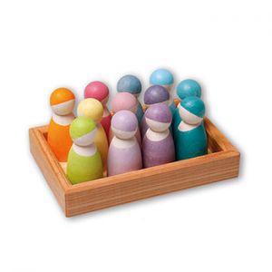 12 bonshommes en bois Pastel Grimm's
