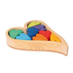 Set cœurs en bois Grimm's - Rainbow