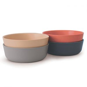 Set 4 bols en bambou BIOBU Blush, Cloud, Storm, Terracotta