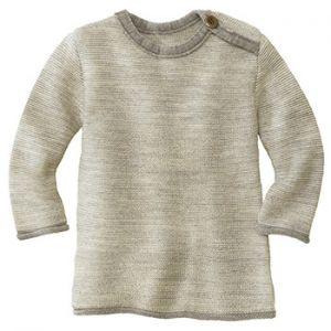 Pull over en laine mérinos Disana - Gris/naturel