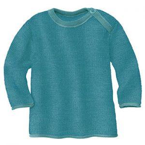 Pull over en laine mérinos Disana - Bleu/lagon