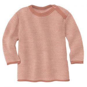 Pull over en laine mérinos Disana - Rose/naturel