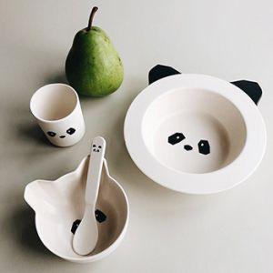 Coffret vaisselle en bambou bébé Liewood - Panda crème