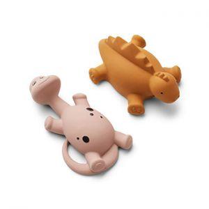 Lot de 2 jouets pour le bain en caoutchouc naturel Liewood - Dinos rose mix