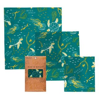 3 emballages Bee's Wrap motif Océan S-M-L
