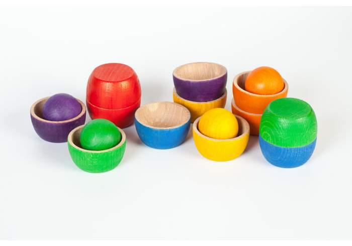 12 Bols et 6 Boules en bois coloré Grapat jouet libre